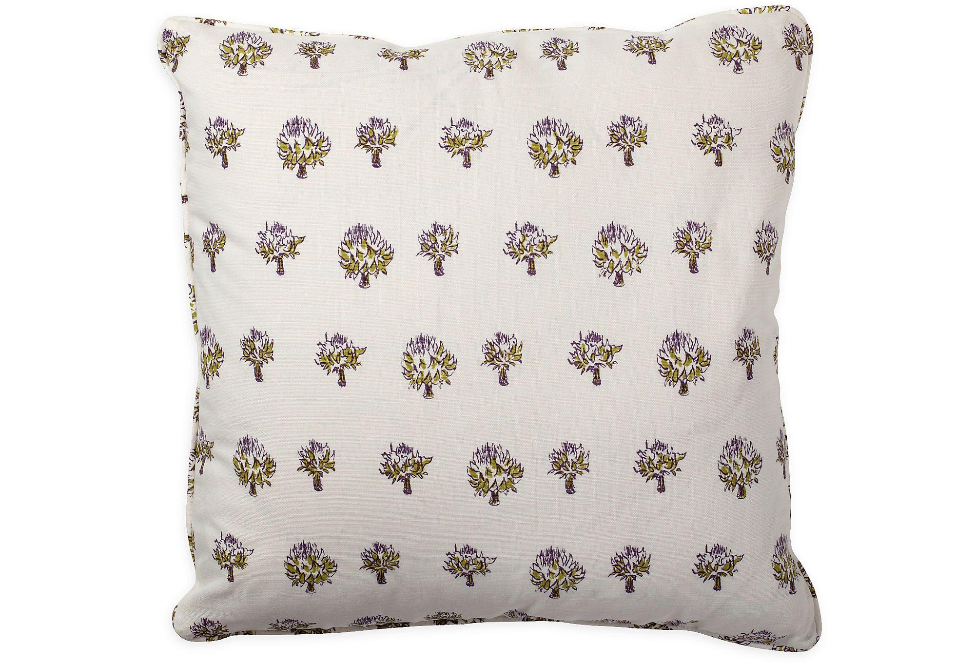 Dried Artichoke Violet Pillow